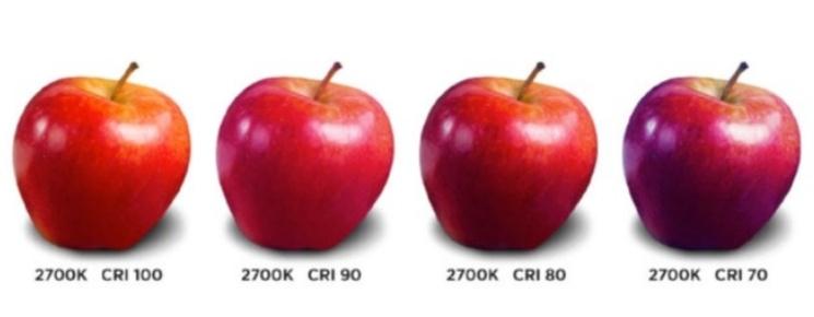 Različiti CRI na prikazu jabuke