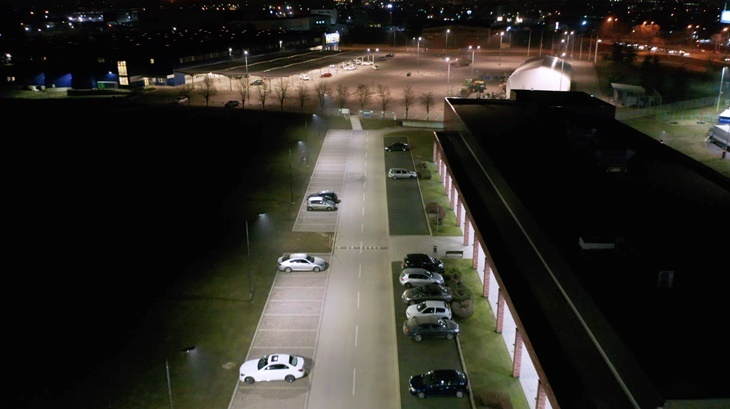 Parking with cars at night